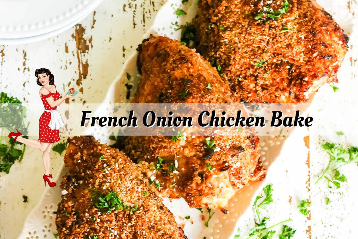 Clickable title image for the French Onion Chicken video on YouTube.