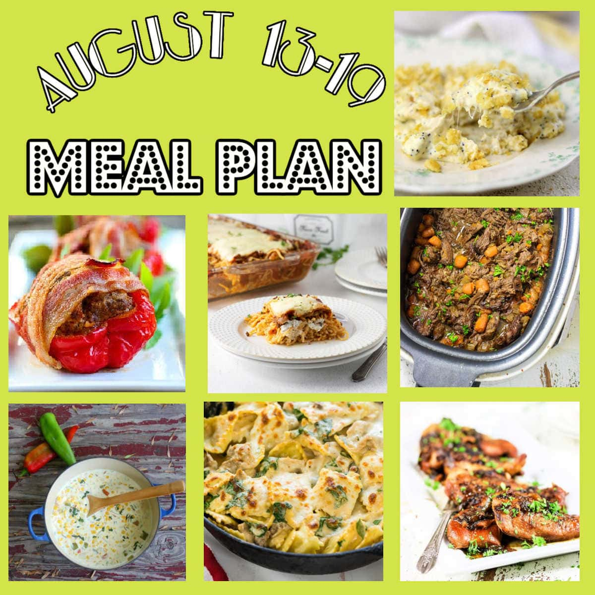 Collage of images from this week's meal plan.