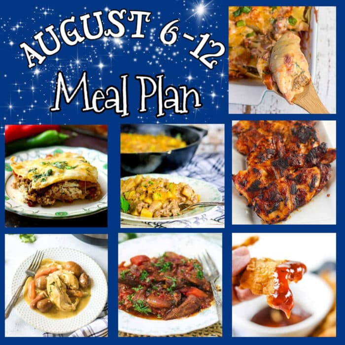 Collage of main dish images for this meal plan.