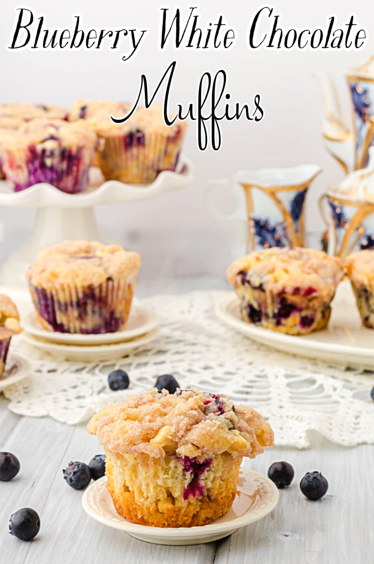 Title image for this recipe. Blueberry muffin on a plate with more muffins in the background.