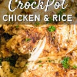 Overhead view of a slow cooker filled with this recipe - text title overlay for Pinterest.