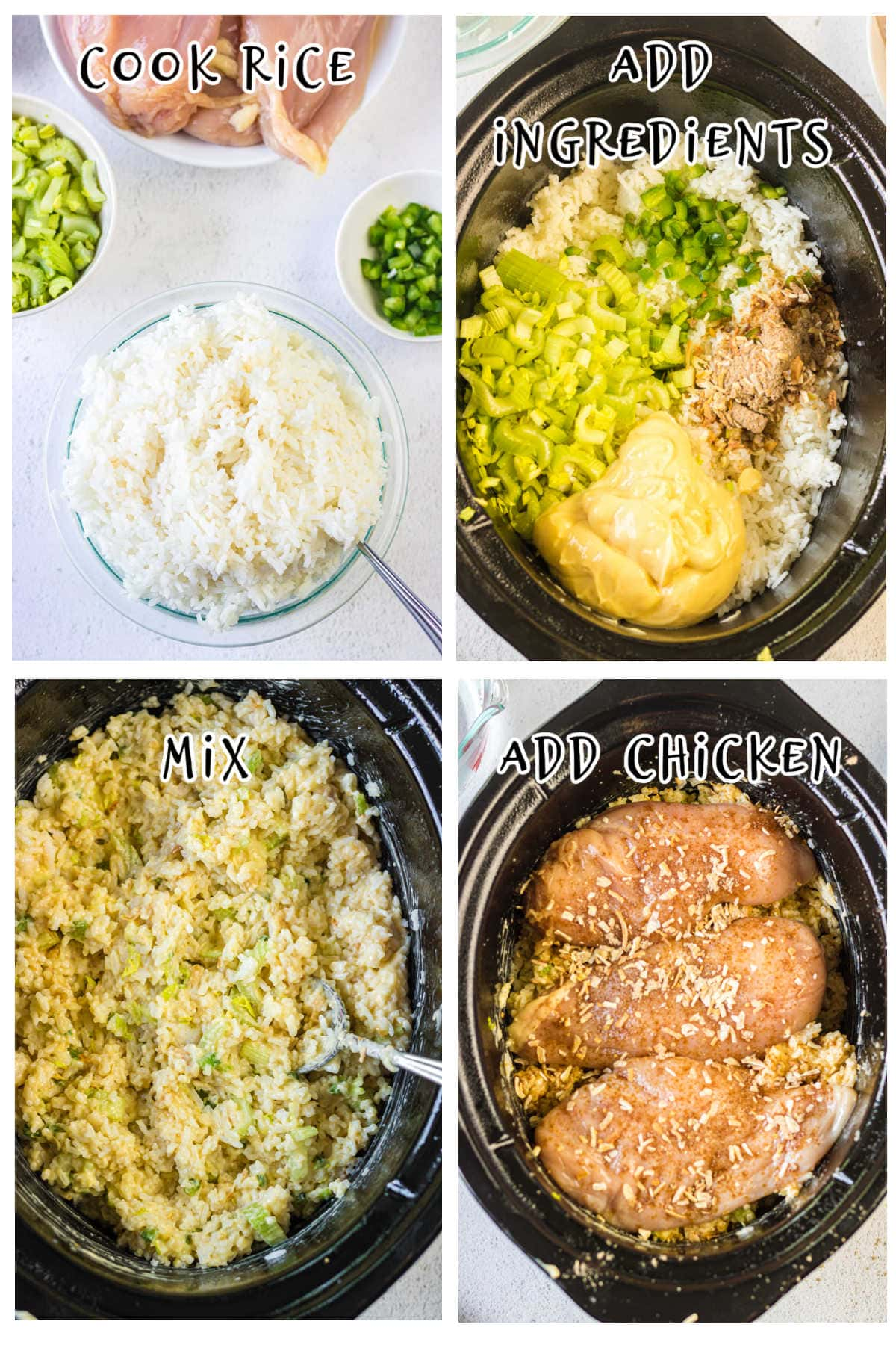 Step by step images showing how to make crockpot chicken and rice.