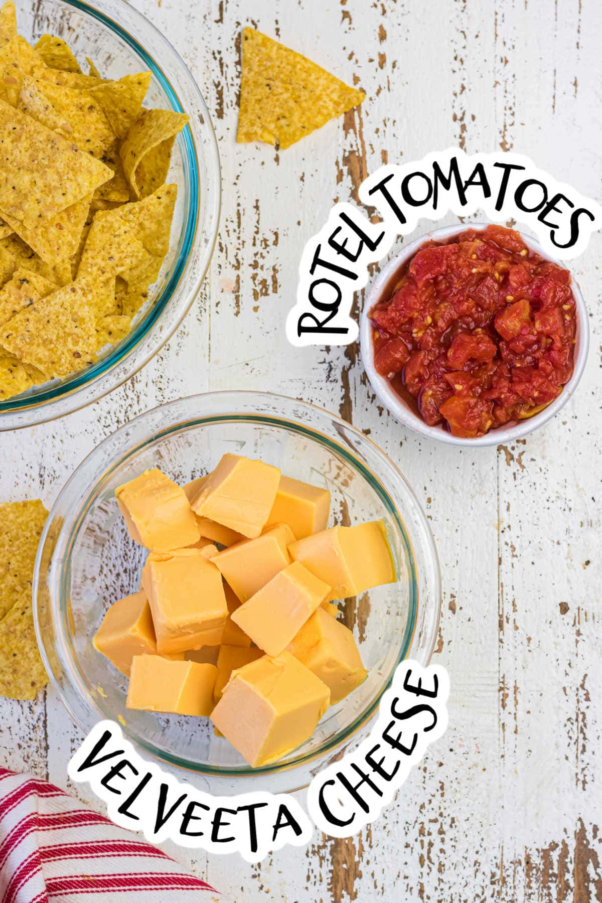 Ingredients for homemade queso dip.