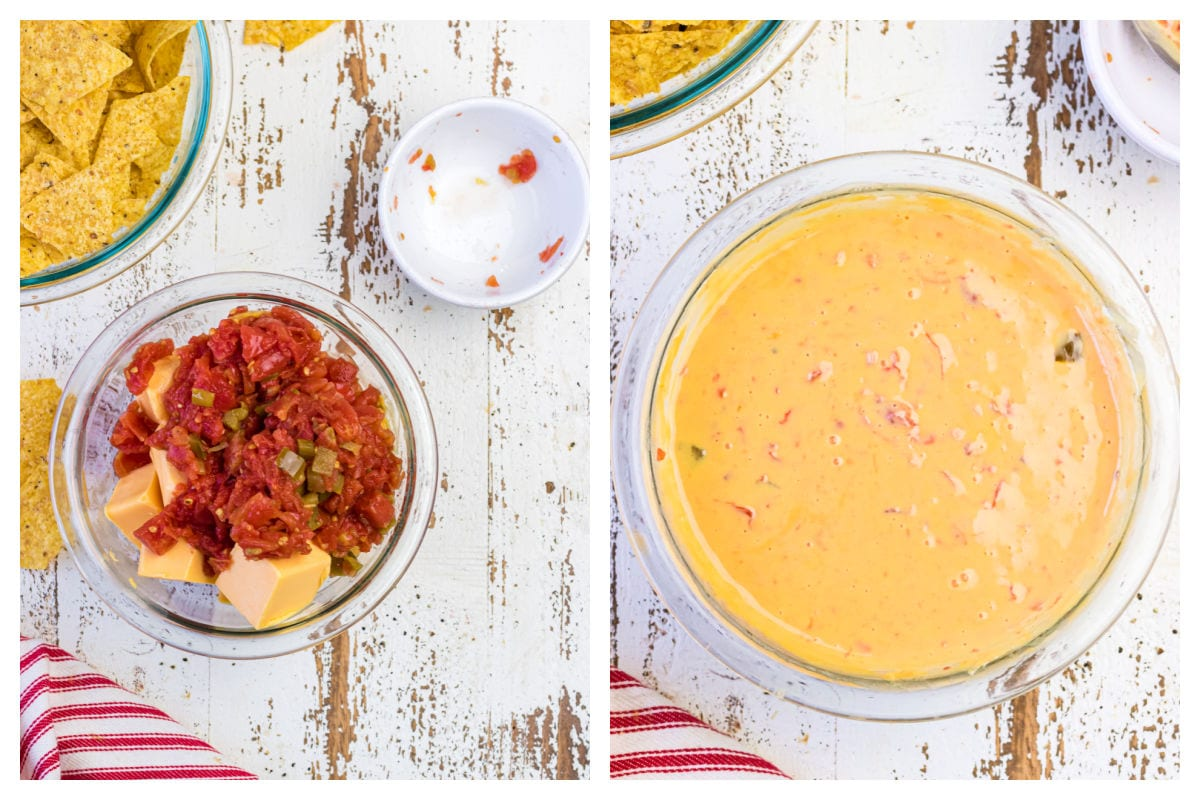 Collage showing steps for making queso.