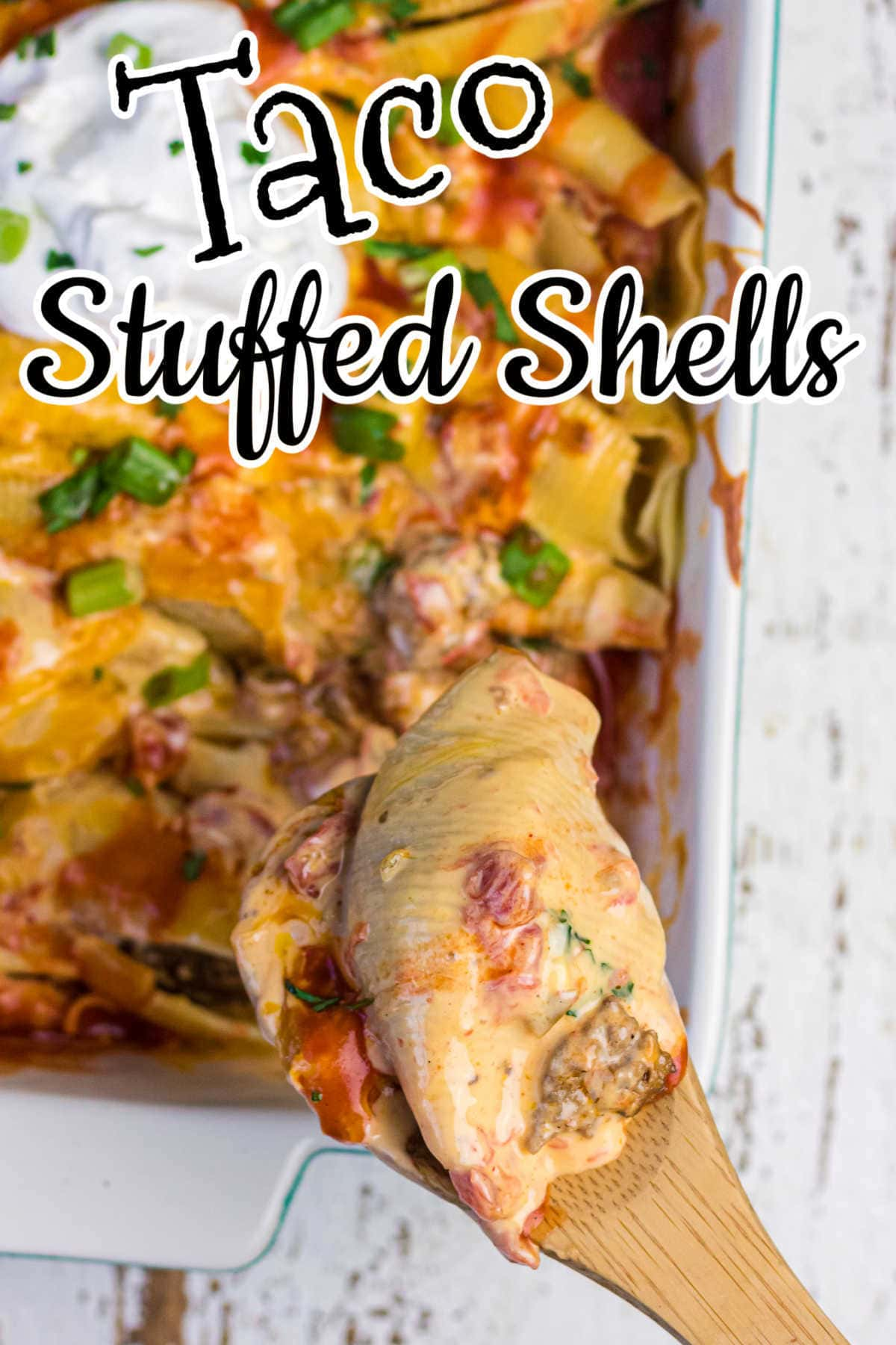 Title text overlay on an image of stuffed shells.