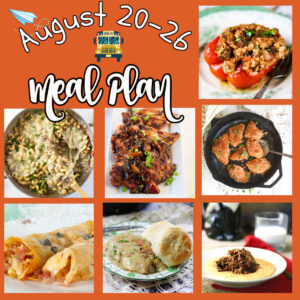 Collage of images for the August 20 meal plan.