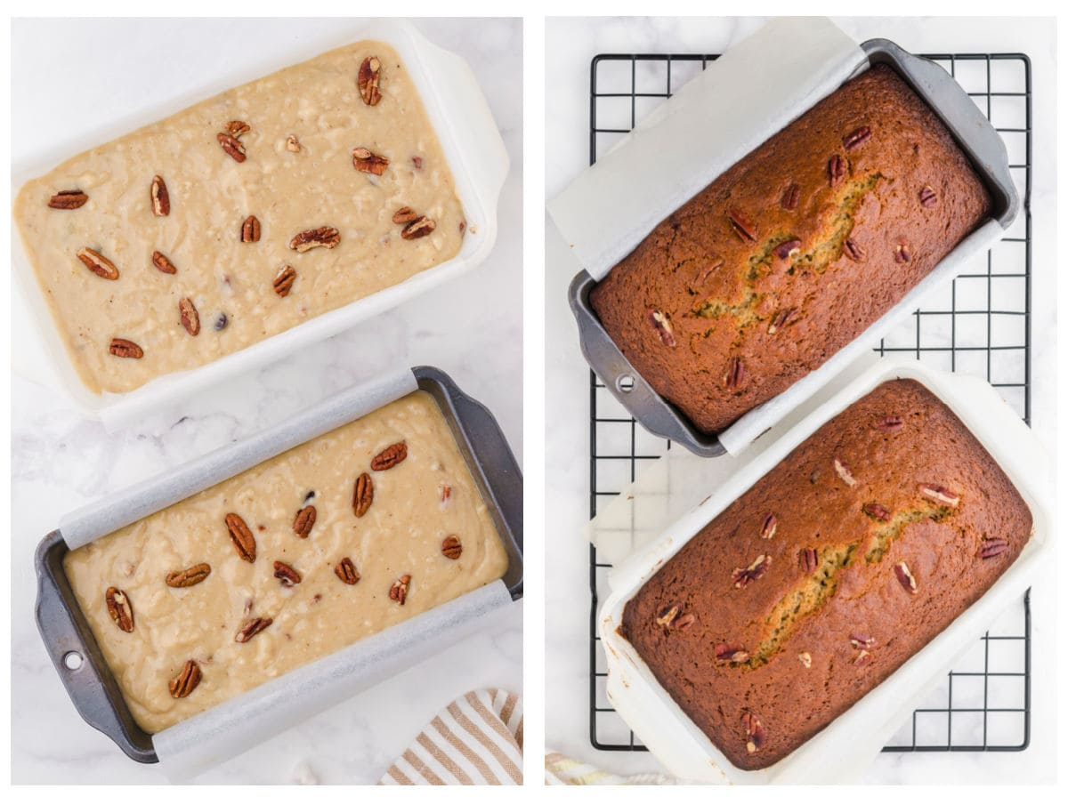 Collage of the unbaked batter and the finished loaves.