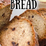 Slices of banana bread with a text overlay for Pinterest.