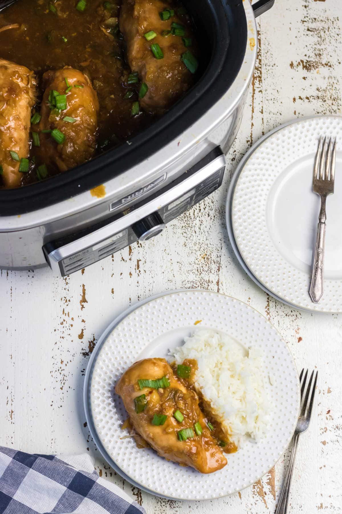 Teriyaki chicken in the slow cooker.