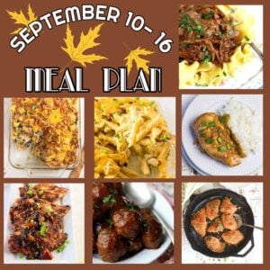 September 10-16 menu plan collage with images and text overlay.