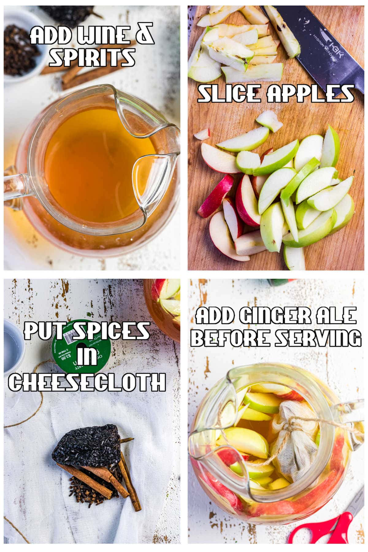 Step by step images for making apple cider sangria.