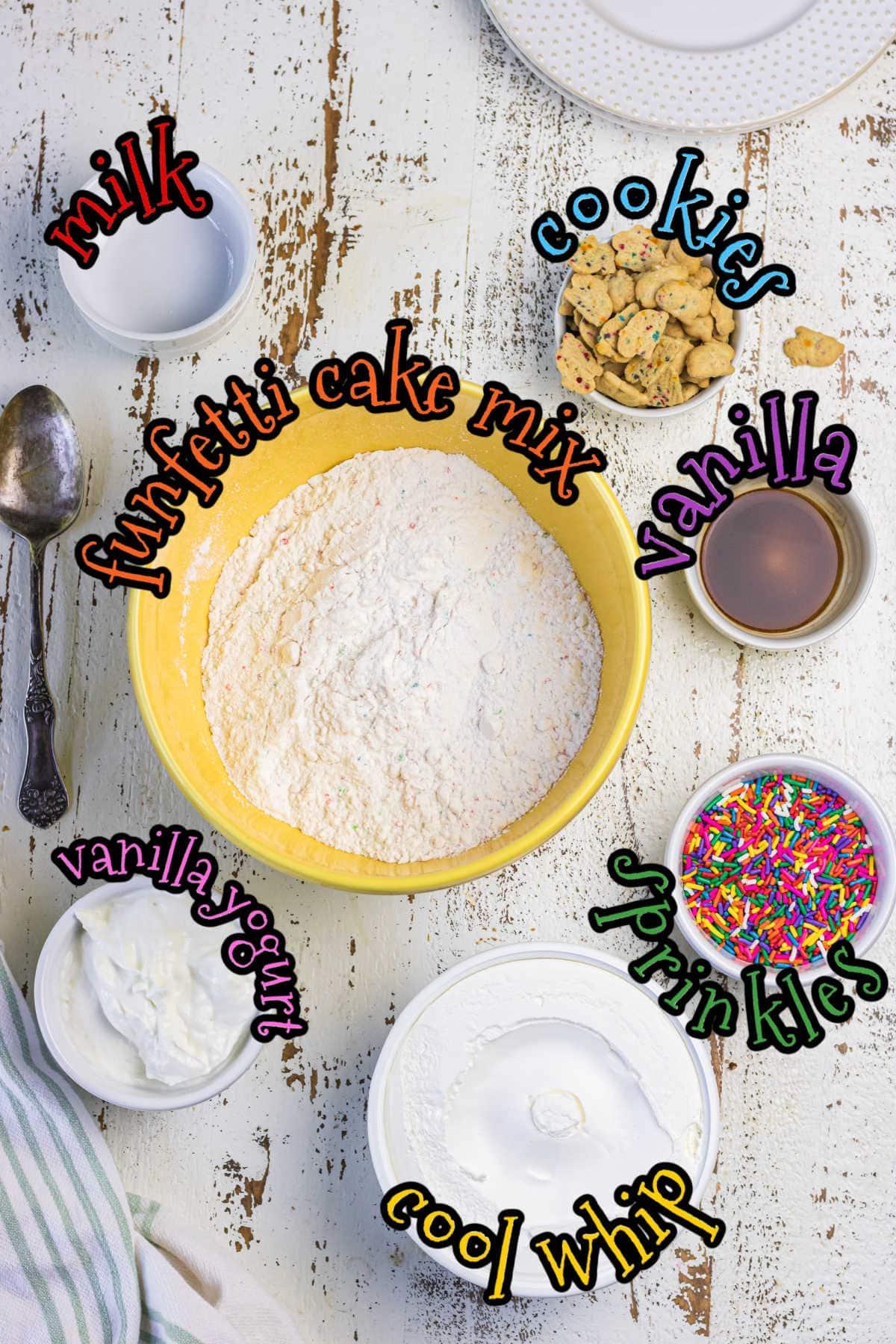 Ingredients for funfetti dip.