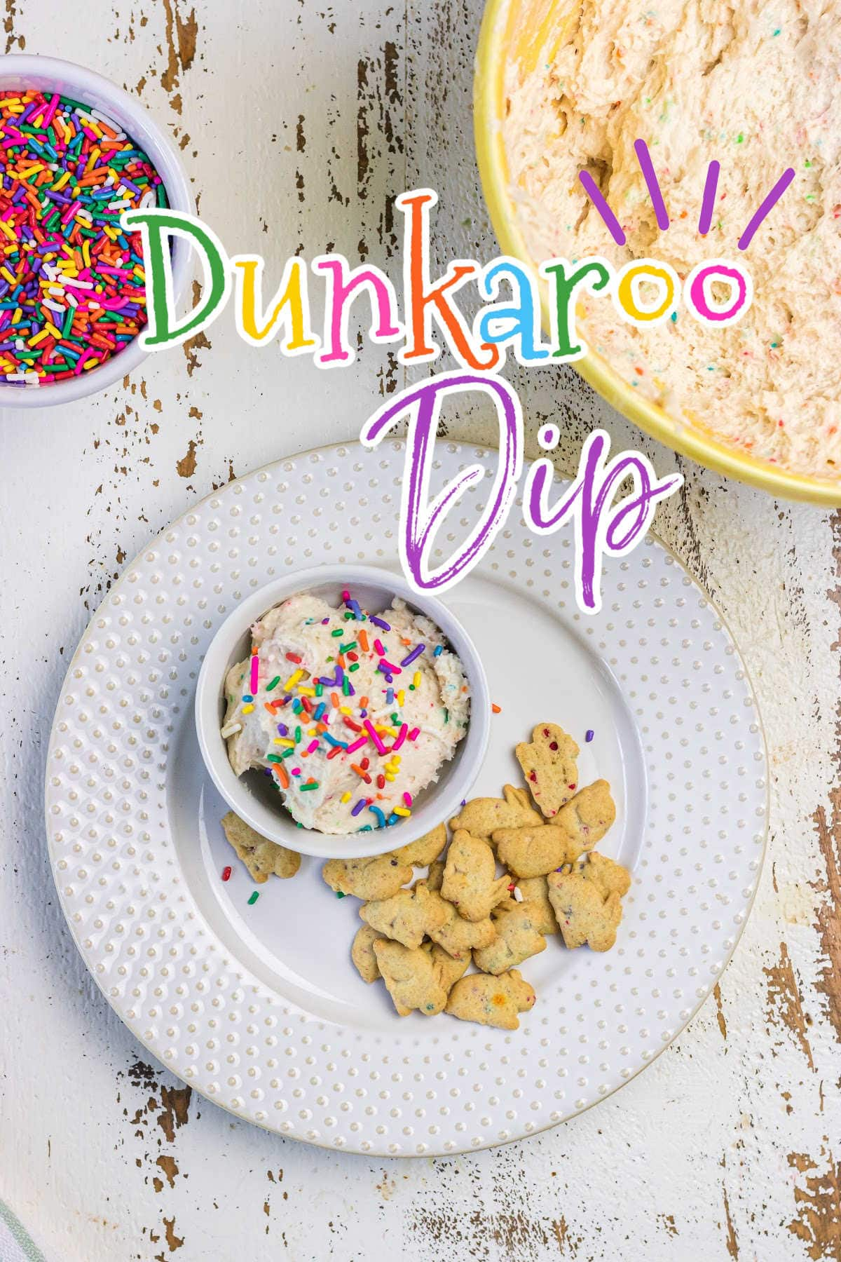 Overhead view of cake batter dip with text overlay.