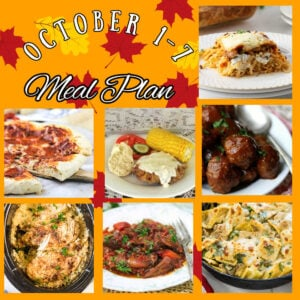 Collage of images from October 1 through 7 meal plan.