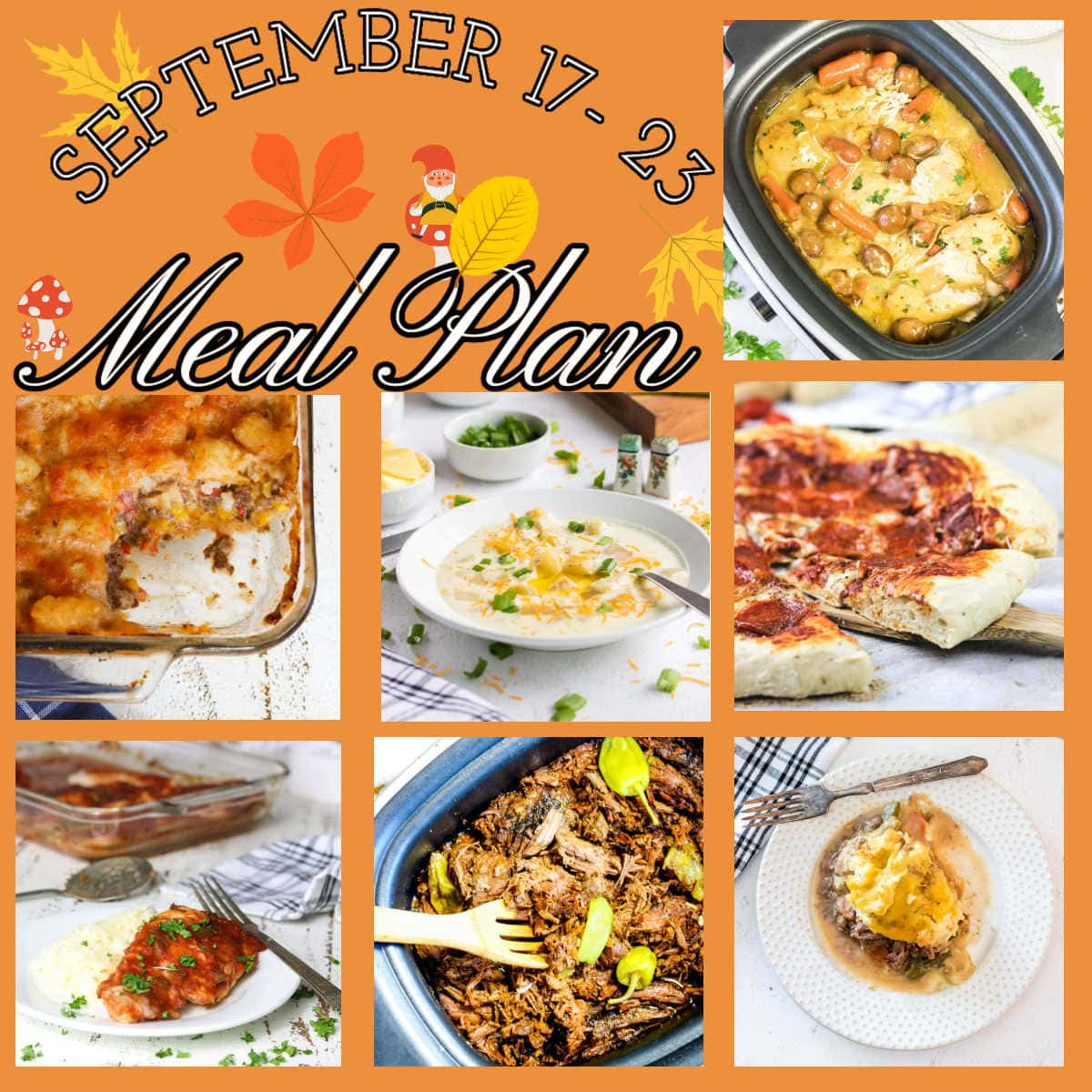 Collage for September 17-23 meal plan.