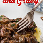 Close up of beef tips and gravy with text for Pinterest.