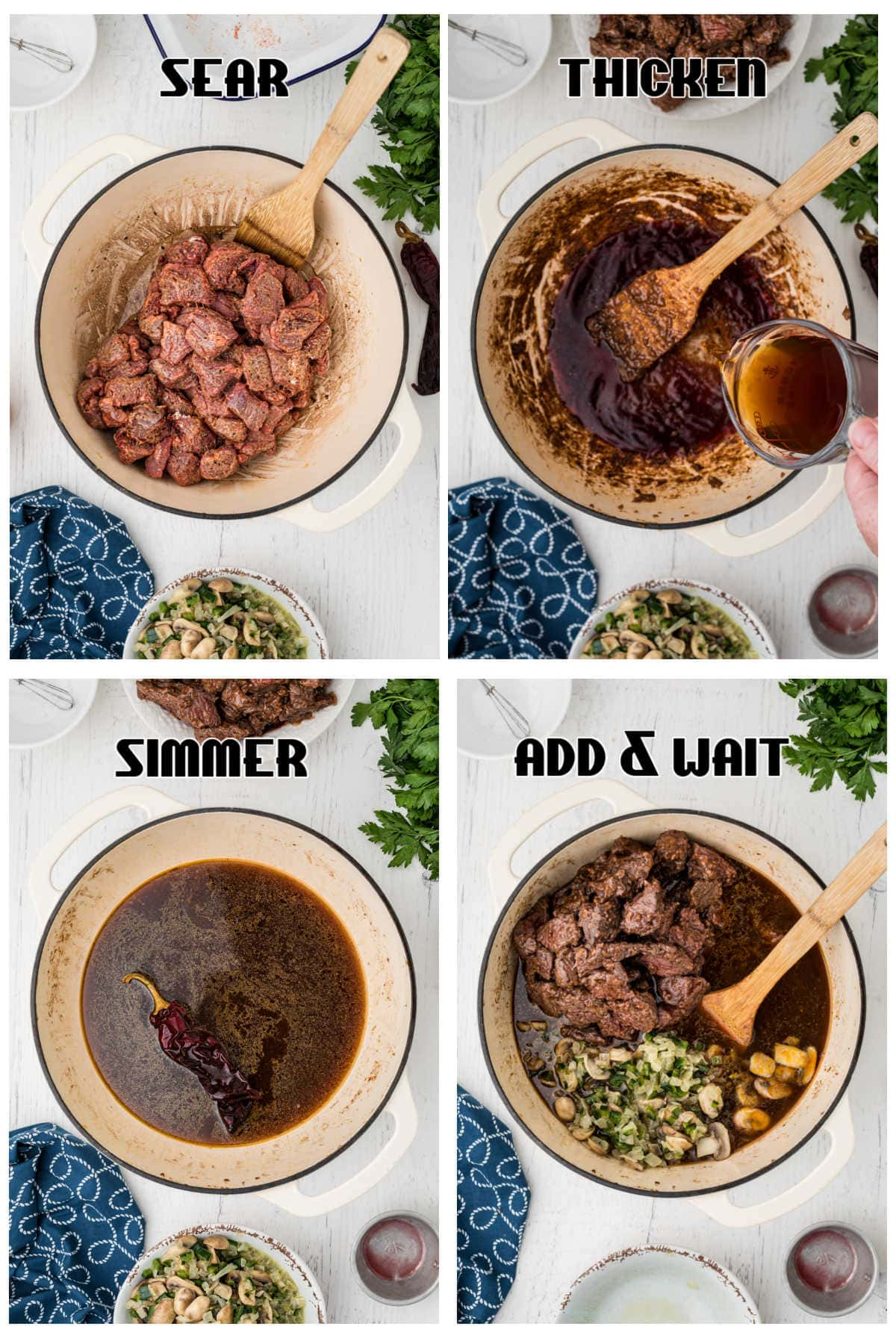 Steps 4 through 8 for making beef tips and gravy.