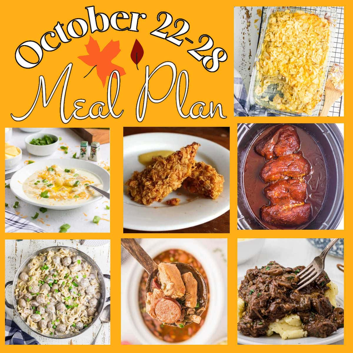Collage of images from the week 44 meal plan with text overlay.