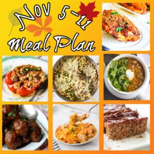Collage of images from this meal plan with text overlay.